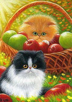 Kittens cats apple orchard basket sunlight original aceo painting art