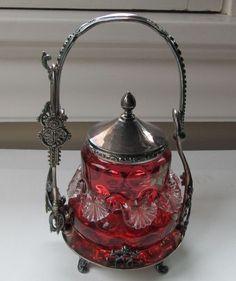 Antique Victorian Meridan Co. S/P pickle caster enamel coinspot cranberry jar NR #MeridanCo