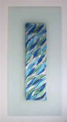 WaterfallModern Fused Glass Wall Hanging Art on Stainless Steel