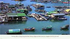 From HONG KONG - Fishing rafts in Hong Kong Ma Wan fishing village provide home for villagers borne by the sea