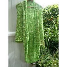 Handknit green coat jacket kimono vest fairy luminous fresh green... ($400) ❤ liked on Polyvore featuring outerwear and green kimono