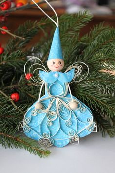 Paper Quilled Angel Ornament in Blue and White/ by OrnamentHouse