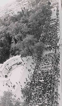 Mexico Olympics 1968--Tlatelolco massacre. The August 27th student demonstration on Juarez Avenue, Mexico City, leading up to the massacre just before the Olympics.