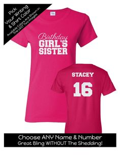 Birthday Girl's Sister with Script Writing Shirt - Personalize the Name, Age and Colors - Birthday Party Matching Shirts by MagicalMemoriesbyJ on Etsy Family Birthday Shirts, Family Birthdays, Script Writing, Matching Shirts, Sweet 16, Girl Birthday, Colorful Shirts, Sisters, Age
