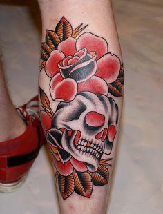 skull and 2 roses tattoo myke...
