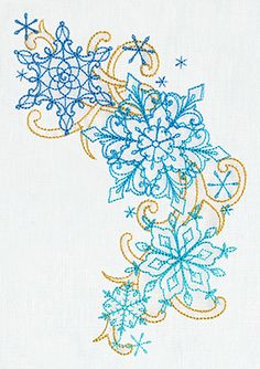 """Delicate December - Snowflakes"" Give winter decor a unique and lovely look with this flurry of snowflakes inspired by traditional henna motifs! - UT7266 (Machine Embroidery) 00595187-1217131036-8"