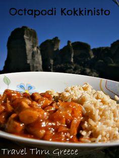 Travel Thru Greece with Mara: Octapodi Kokkinisto (Red Sauce Octopus) Recipe Octopus Recipes, Greek Language, Red Sauce, Seafood Dishes, Chana Masala, Food To Make, Cooking Recipes, Fish, Greece