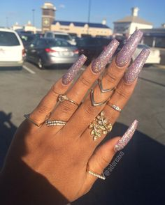 In seek out some nail designs and ideas for the nails? Here is our list of 14 must-try coffin acrylic nails for trendy women. Sexy Nails, Dope Nails, Nails On Fleek, Colorful Nail, Gorgeous Nails, Pretty Nails, Long Acrylic Nails, Glittery Acrylic Nails, Glitter Nails