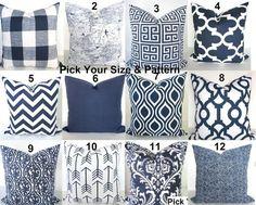 Blue Pillows Blue Throw Pillows Navy Blue by SayItWithPillows - 5 & 10 Navy Blue Throw Pillows, Blue Pillow Covers, Decorative Pillow Covers, Accent Pillows, Corner Sofa Pillows, Nouveau Look, Pillow Forms, Pillow Inserts, Bleu Marine