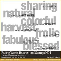 Fading Words Brushes and Stamps No. 04- Katie Pertiet Brushes- DS576375- DesignerDigitals