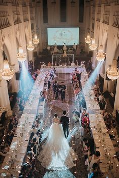 Long table seating arrangement and elegant fairy light decoration for rustic dinner reception // Andre and Sherlyn's Romantic, Rustic Wedding on the Lawn at CHIJMES {Facebook and Instagram: The Wedding Scoop}