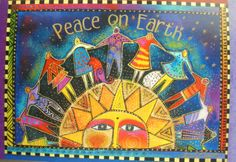 Laurel Burch Peace on Earth People Holding Hands Sun Star Cat Dog Christmas Card | eBay