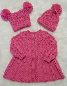 Aurora Baby Knitting Pattern 18 - Her Crochet Knitting Baby Girl, Baby Cardigan Knitting Pattern Free, Knitted Baby Cardigan, Knit Baby Sweaters, Knitted Baby Clothes, Knitting For Kids, Finger Knitting, Knit Cowl, Hand Knitting
