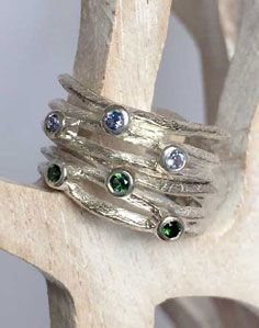 Silver 3-stack rings in iolite and green tourmaline <3