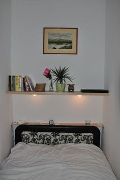 Floating shelf with lights, power sockets and glass holders #woodworking #bedroom #furniture