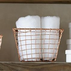 Small Hand-Wired Basket - Copper Finish