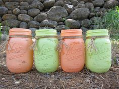 Hand Painted Peach and Cool Green Pint by SwiftRiverCreations, $30.00