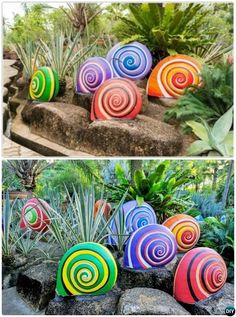DIY Painted Snail Sculptures Colorful Garden Art DIY Decorating Ideas<br> DIY Garden Art Decorating Ideas Instructions: brilliant projects to add color and joy to a garden and yard with step Diy Garden Projects, Diy Garden Decor, Garden Decorations, Home Decoration, Kids Garden Crafts, Nature Crafts, Sculpture Projects, Sculpture Ideas, Wood Sculpture