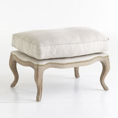 Wisteria - Furniture - Poufs & Stools -  Studded Lounge Ottoman - Oatmeal - $379.00