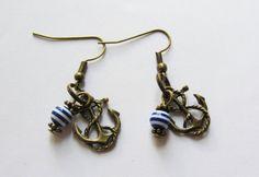 Anker-Ohrhänger maritim bronzefarben blau-weiß von soschoen auf DaWanda.com