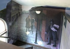 Sherlock Holmes themed mural painted for a bookstore (Stately Raven) in Findlay, Ohio
