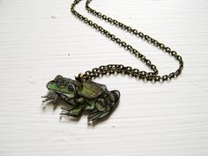 Bullfrog Necklace / Shrink Plastic Necklace by PeriwinkleNuthatch, $18.00