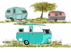 glamping rv images | ... Fabric Glamping Vintage travel trailer Aqua and Blues RV Travel
