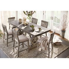 Charthouse Counter-Height Dining Table and 6 Stools - Gray Living Room Seating, Dining Room Sets, Dining Room Table, Banquette Dining, Kitchen Tables, Value City Furniture, Counter Height Dining Table, Reclining Sectional, Living Furniture