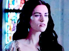 Morgana in 3x05 (gif set) I absolutely love this location. The stained glass provides with gorgeous lighting. Merlin and Morgana should have kissed here. --Description by DestinyandDoom