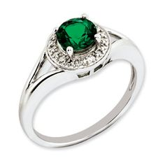 Round Emerald May Birthstone Diamond Sterling Silver Ring Available Exclusively at Gemologica.com