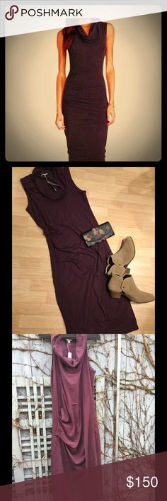 NWT James Perse Tank Cowl Neck Dress Hard to find style!  This Jersey Tank dress is very versatile and super comfy.  Flattering ruched middle and fully lined on the inside.  Color is Plum.  James Perse size 3 = L.  Make an offer! James Perse Dresses