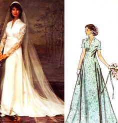 Vogue 1156 Empire Waist Wedding Dress Vintage Sewing Pattern Belinda Bellville Bridal Gown Veil Princess Kate Wedding Dress Bust 38 LABEL