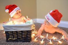 Twins first Christmas :-) Mikey in the basket Soso on the floor lol! First Christmas Photos, Xmas Photos, Holiday Pictures, Babies First Christmas, Christmas Baby, Xmas Pics, Twin Pictures, Cute Baby Pictures, Newborn Pictures
