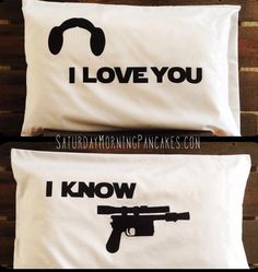 Nothing says love like Star Wars! Two standard sized pillowcases with the famous love quotes from Princess Leia and Han Solo.    International Star Wars Schlafzimmer, Star Wars Zimmer, Mundo Geek, Pillow Cases, Throw Pillow, Take My Money, Star Wars Wedding, I Love You, Star Wars Gifts