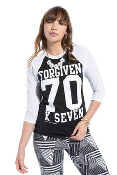 Forgiven 70 X 7 Baseball Raglan - JCLU Forever - 1