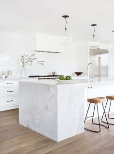 interior design by amber interiors - love the white kitchen paired with the floor finish Kitchen Interior, New Kitchen, Kitchen Decor, Kitchen Ideas, Kitchen Stools, Room Kitchen, Bar Stools, Kitchen Pendants, Rustic Kitchen