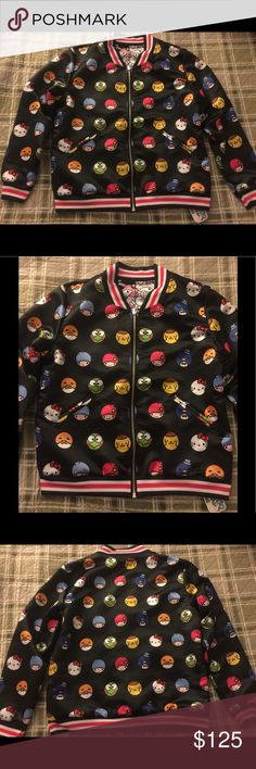 Japanla Sanrio hello kitty reversible jacket Aunthentic rare Sanrio Japanla bomber jacket! Great condition never worn out only tried on once for it to not fit me. So I'm selling! This jacket as you can see in the pictures is reversible! Both sides have characters on em. Theres hello kitty, badtz maru, little twin stars, kerropi, my melody and others. Tag is still attached to jacket with the price I paid for it! Sanrio Jackets & Coats