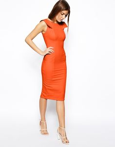 ASOS COLLECTION ASOS Pencil Dress with Fold Sleeve Detail