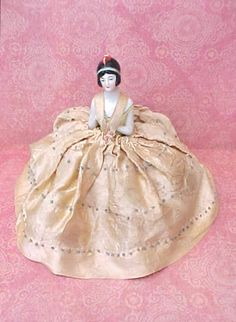 Lovely Art Deco Era German Pincushion Doll or Half Doll with Pincushion and Satin Gown