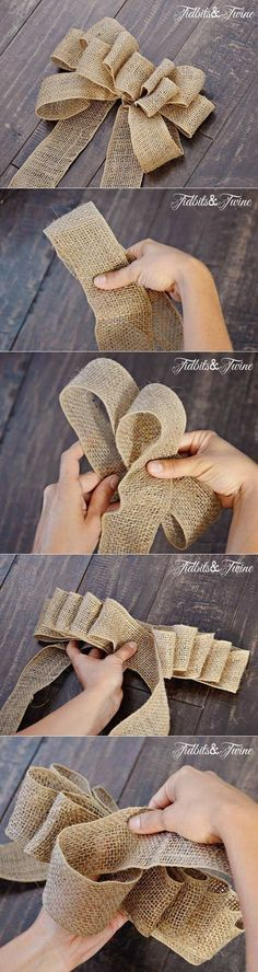In this DIY tutorial, we will show you how to make Christmas decorations for your home. The video consists of 23 Christmas craft ideas. You will learn how to. Burlap Crafts, Burlap Bows, Christmas Projects, Holiday Crafts, Diy And Crafts, Christmas Bows, Christmas Wrapping, Christmas Ornaments, Diy Ribbon