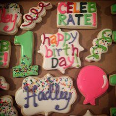 1st Birthday Girl Decorated Sugar Cookies