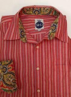 Robert Graham R&G 2XL mens shirt coral pink gold paisley flip cuffs stripes #RobertGraham #ButtonFront