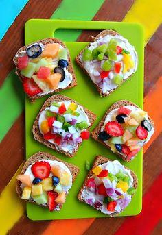 Summer Tiny Toast - 30 calories (fruit) or 25 calories (veggie)