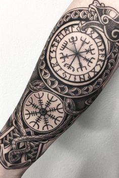 Viking Tattoos For Men, Viking Warrior Tattoos, Viking Rune Tattoo, Norse Tattoo, Viking Tattoo Design, Tattoos For Guys, Viking Tribal Tattoos, Celtic Sleeve Tattoos, Viking Tattoo Sleeve