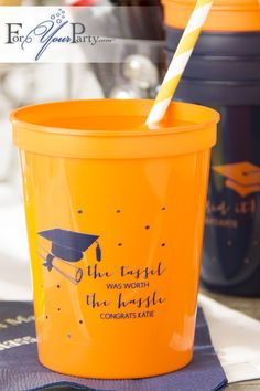 Make your graduate feel extra proud of his accomplishment by personalizing his/hers graduation party. These personalized stadium cups from ForYourParty.com are just perfect for the occasion!