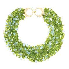 Six Strand Peridot and Blue Chalcedony Bead Torsade Necklace, Taffin