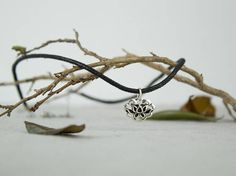 Sterling Silver Lotus Charm Necklace Black waxed cotton