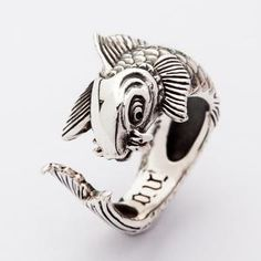 Silver Koi Ring, Koi Tattoo Fish Ring, Carp Ring, Fish Ring, Adjustable Ring by SterlingMalee - Store Tutorial and Ideas Koi Fish Designs, Fish Ring, Silver Skull Ring, Silver Tattoo, Skull Rings, Sterling Silver Mens Rings, 925 Silver, Animal Rings, Biker Rings