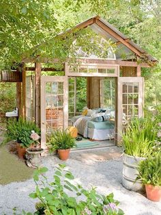 Awesome! $400 Garden Retreat made mostly from repurposed materials download plans at bhg.com/gardenhut by cecile