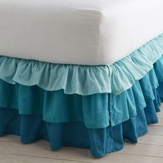 Bright, ruffled bedskirt for girls, with three tones. girls' dust ruffle is decorative and hides clutter under the bed. The Company Store Home Decor Furniture, Home Decor Bedroom, Diy Room Decor, Rideaux Design, Ideas Habitaciones, Ruffle Curtains, Mermaid Room, Indian Home Decor, Teen Girl Bedrooms